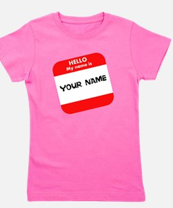 Custom Red Name Tag Girl's Tee