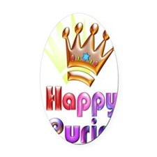 HappyPurim-clear-v1 Oval Car Magnet