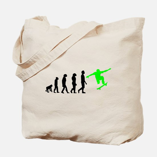 Skateboard Evolution (Green) Tote Bag