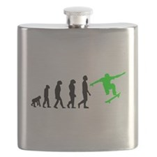 Skateboard Evolution (Green) Flask