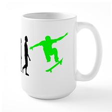 Skateboard Evolution (Green) Mugs