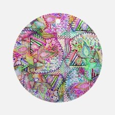 Abstract Girly Neon Rainbow Paisley Round Ornament