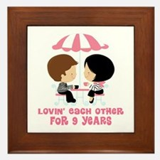 9th Anniversary Paris Couple Framed Tile
