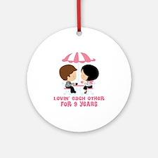 9th Anniversary Paris Couple Ornament (Round)