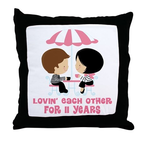 11th Anniversary Paris Couple Throw Pillow