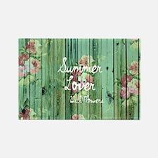 Summer Vintage Floral Pattern Tea Rectangle Magnet