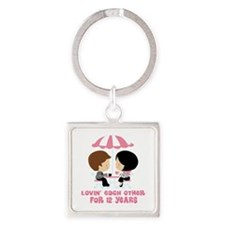 12th Anniversary Paris Couple Square Keychain