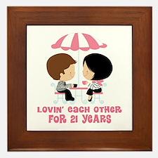 21st Anniversary Paris Couple Framed Tile