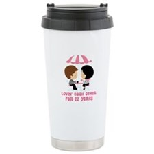 22nd Anniversary Paris Couple Travel Mug