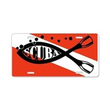 Scuba Fish Wht Aluminum License Plate