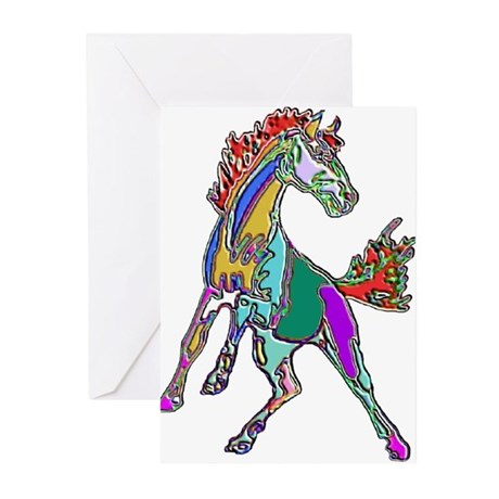 NEON HORSE Greeting Cards