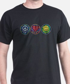 Peace, Love and Happiness (type) T-Shirt