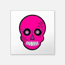 "Pink Sugar Skull Day of the Dead Square Sticker 3"""