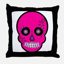 Pink Sugar Skull Day of the Dead Throw Pillow