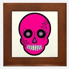 Pink Sugar Skull Day of the Dead Framed Tile