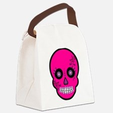 Pink Sugar Skull Day of the Dead Canvas Lunch Bag