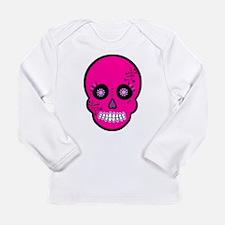Pink Sugar Skull Day of the Dead Long Sleeve Infan