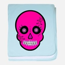 Pink Sugar Skull Day of the Dead baby blanket