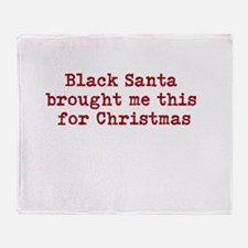 Black Santa Throw Blanket