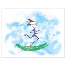 Christmas Holiday Lady Runner Poster
