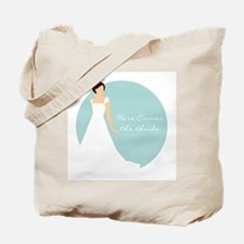 Here Comes the Bride Brunette Hair Blue Tote Bag