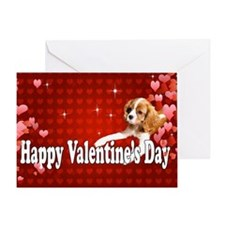 Happy Valentines Day CKCS Puppy Greeting Cards