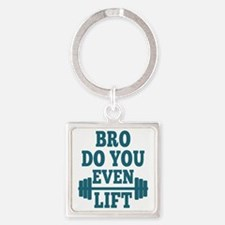 Bro Do You Even Lift Blue Square Keychain