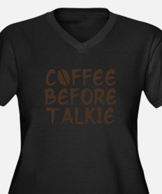 Coffee Before Talkie Women's Plus Size V-Neck Dark