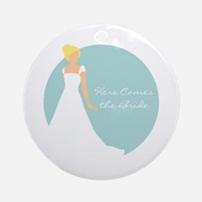 Here Comes the Bride Blonde Hair Blue Ornament (Ro