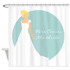 Here Comes the Bride Blonde Hair Blue Shower Curta