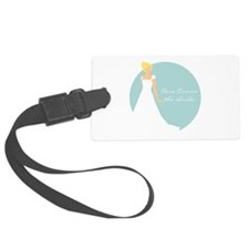Here Comes the Bride Blonde Hair Blue Luggage Tag