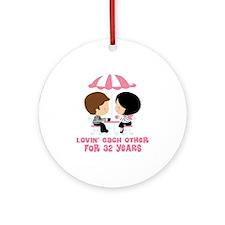 32nd Anniversary Paris Couple Ornament (Round)