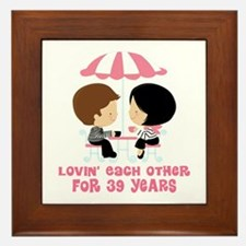 39th Anniversary Paris Couple Framed Tile