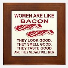 Women Are Like Bacon Framed Tile