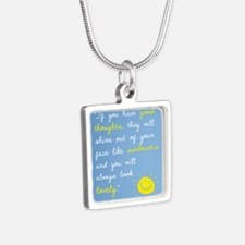 If You Have Good Thoughts Silver Square Necklace