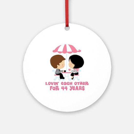 44th Anniversary Paris Couple Ornament (Round)