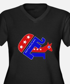 GOP Elephant Humping Donkey Women's Plus Size V-Ne