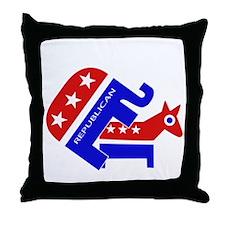 GOP Elephant Humping Donkey Throw Pillow