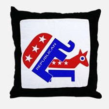 GOP Elephant Humping Donkey Throw Pillow