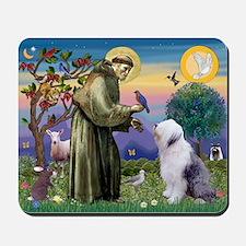 St. Francis & Old English Sheepdog Mousepad