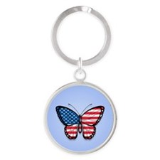 Blue American Butterfly Flag Keychains