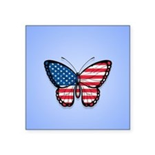 Blue American Butterfly Flag Sticker