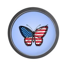 Blue American Butterfly Flag Wall Clock