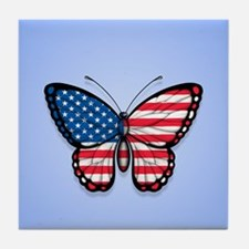 Blue American Butterfly Flag Tile Coaster