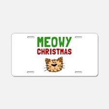 Meowy Christmas Aluminum License Plate