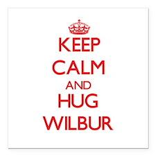 "Keep Calm and HUG Wilbur Square Car Magnet 3"" x 3"""