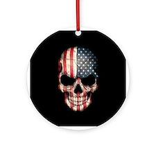American Flag Skull Ornament (Round)