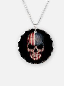 American Flag Skull Necklace