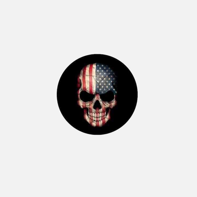 American Flag Skull Mini Button