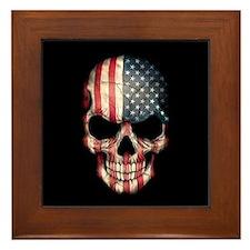 American Flag Skull Framed Tile